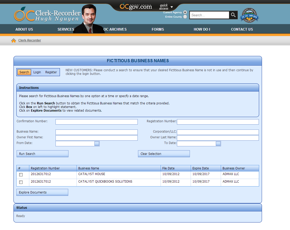 ADMAX LLC dbas filed on CH CQS 10.9.2012