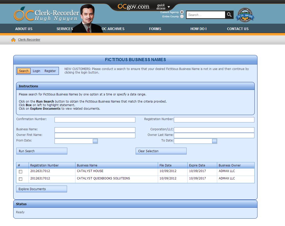 ADMAX LLC dbas filed on CH CQS 10.9.2012